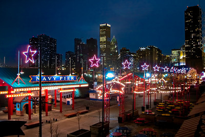 Chicago Skyline at Night, from Navy Pier