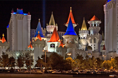 The Exterior of The Excalibur Hotel At Night, Las Vegas