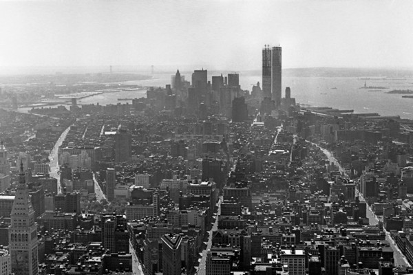 New York Skyline, c1970, with World trade Center under construction.