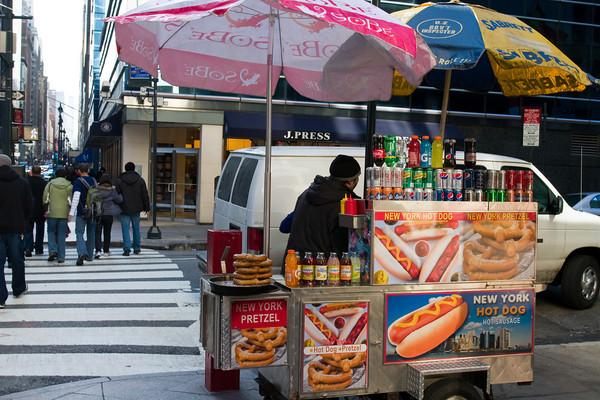 Sidewalk Hot Dog Stand, midtown Manhattan