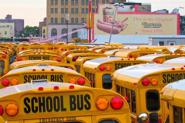 School buses in Coney Island, Brooklyn, New York