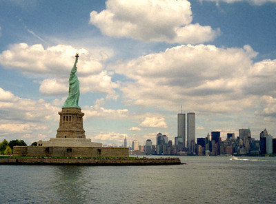 Statue of Liberty and World Trade Center, New York harbor, 1993