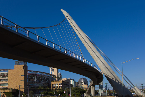 Pedestrian access Bridge to Petco Park, Home of the San Diego Padres, in the Gaslamp District of downtown San Diego, CA