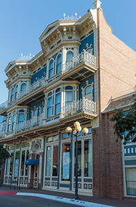 Horton Grand Hotel in the San Diego Gaslamp Historic District, is an unusual merger of two 1886 Gaslamp hotels that were slated for demolition and moved to this site in 1981. Wyatt Earp lived in the former Brooklyn Hotel—the western half—for most of his seven years in San Diego.