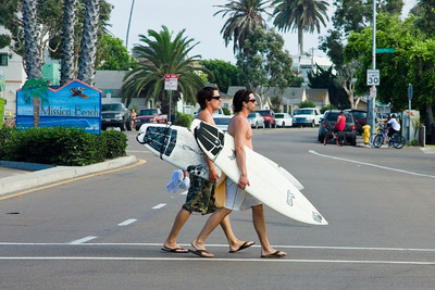 Surfers Crossing the Street, Mission Beach, California