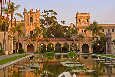 Lily Pond and Casa del Prado, Balboa Park, San Diego CA