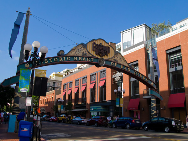 Welcome Arch, Gaslamp District, downtown San Diego, California