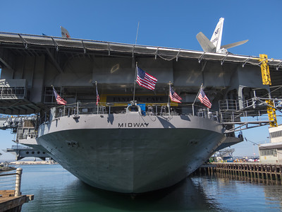 Aircraft Carrier USS Midway, on the San Diego Waterfront, San Diego CA. The USS Midway served as the Persian Gulf flagship in Desert Storm. Longest-serving U.S. Navy carrier of the 20th century and largest ship in the world, 1945-1955.