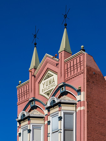 The Yuma Building  in the Gaslamp Quarter Historic District, San Diego CA.  The Yuma Building was one of the first brick buildings built in San Diego.  The Gaslamp Quarter is the historic heart of San Diego, California.