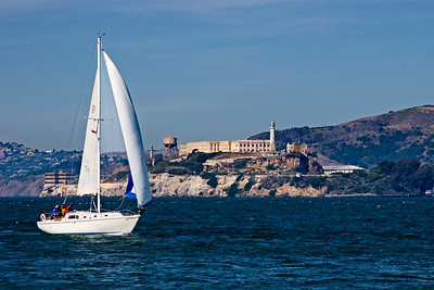 Sailboat Sailing in front of Alcatraz Island, San Francisco CA