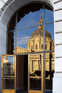 San Francisco City Hall Reflected in a Glass Doorway