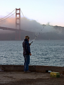 Fishing under the Golden Gate Bridge, San Francisco CA