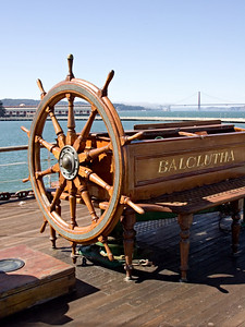 Wheel of the Tall Ship Balclutha at the San Francisco Maritime M