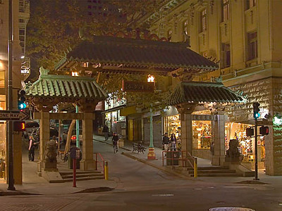 A decorated gate marks the entry to San Francisco's Chinatown, at Grant Avenue and Bush Street.