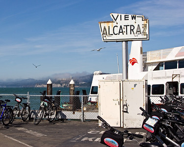 Sign for Ferry to Alcatraz Island, San Francisco CA