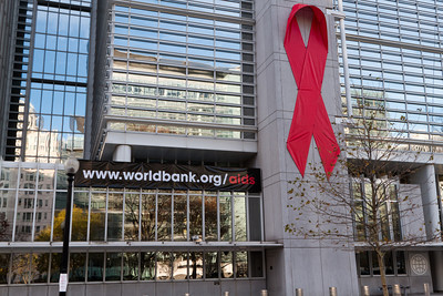 AIDS Ribbon on the World Bank Headquarters Building