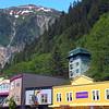 Juneau Alaska, Downtown Street View with Waterfall