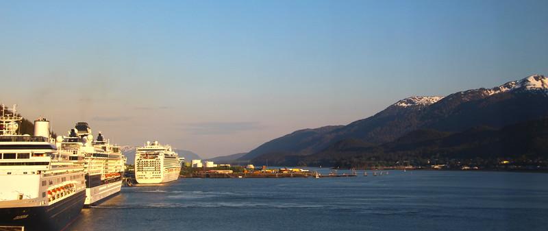 Juneau Alaska, Three Cruise Ships Line up in Harbor, Panorama