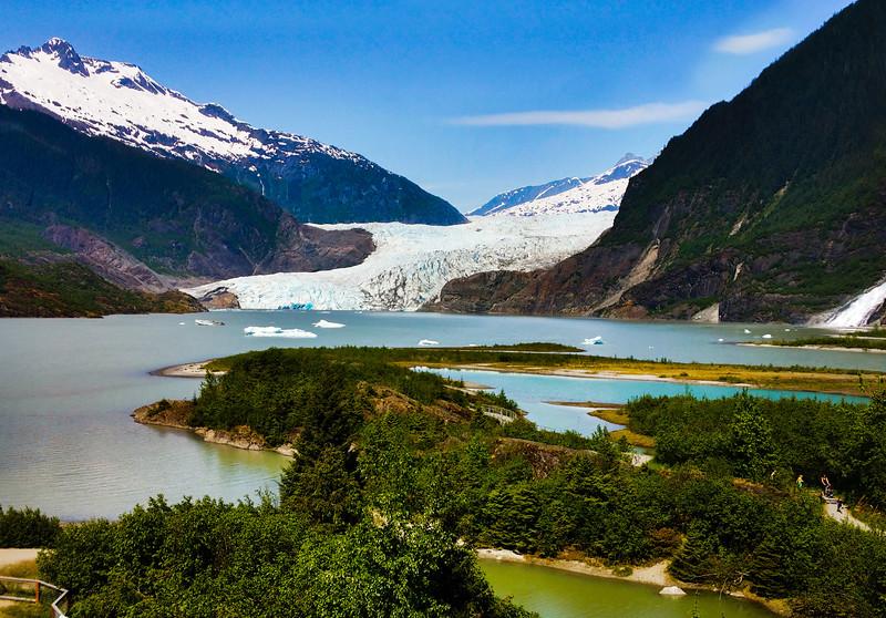 Juneau Alaska, Mendenhall Glacier and Nugget Falls from Visitors Center