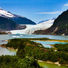 Juneau Alaska, Mendenhall Glacier and Nugget Falls from Visitors Center