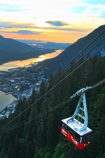 Juneau Alaska, View on Tram at Sunset from Mount Roberts Tramway