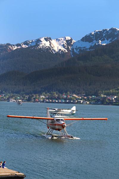 Juneau Alaska, WIngs Airways Floatplanes  Prepare to Pick Up Passengers for the Scenic Flight Seeing Tour to Taku Glacier Lodge