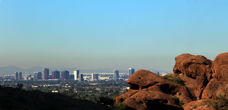 Arizona, Scottsdale, View on Phoenix from Camelback Mountain