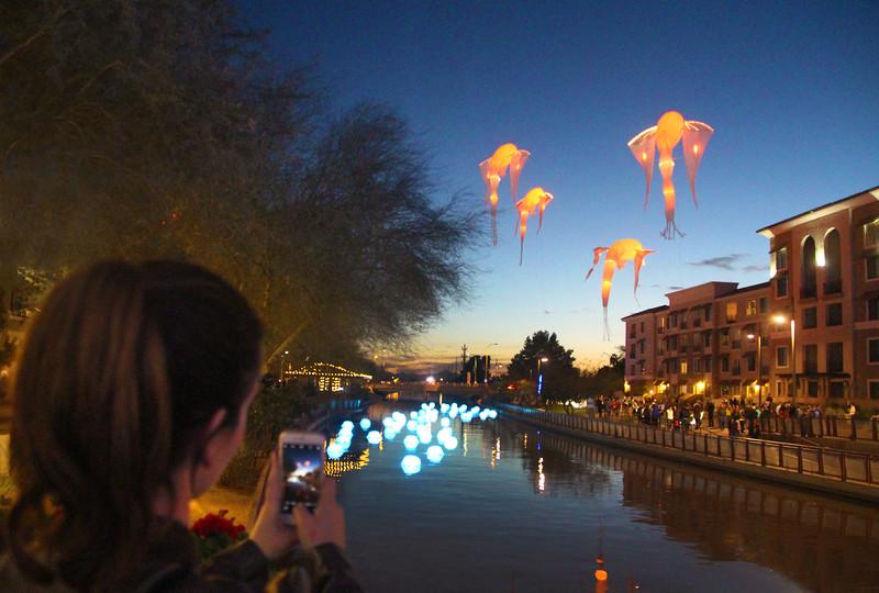 Arizona, Scottsdale, Canal Convergence Water & Light Display