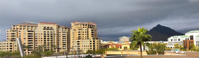 Arizona, Scottsdale, Panorama over Fashion Square and Camelback Mountain