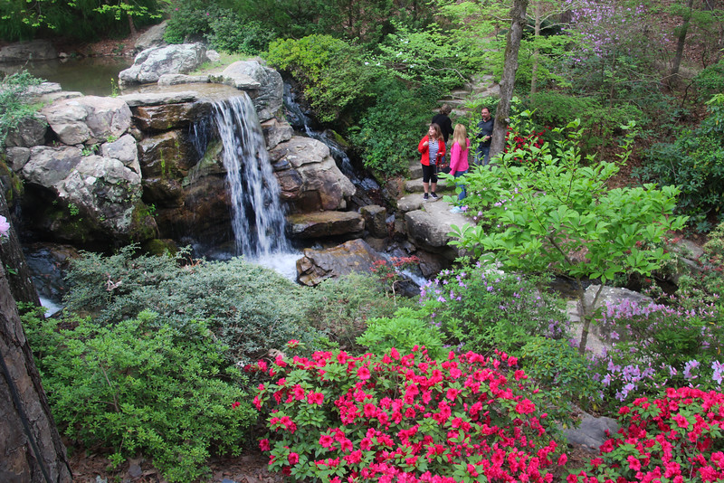Hot Springs Arkansas, Garvan Woodland Gardens, Hikers Along Waterfall Path