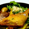Richard's Restaurant, Chicken cooked with 40 cloves of garlic, fingerling potatoes, fennel arugula salad
