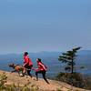 Acadia National Park, Cadillac Mountain, Hikers with Dog