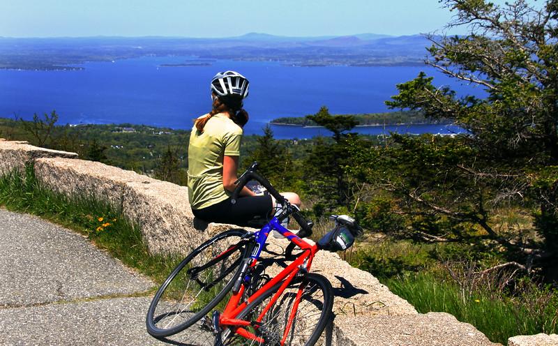 Acadia National Park, Cadillac Mountain, Bicyclist