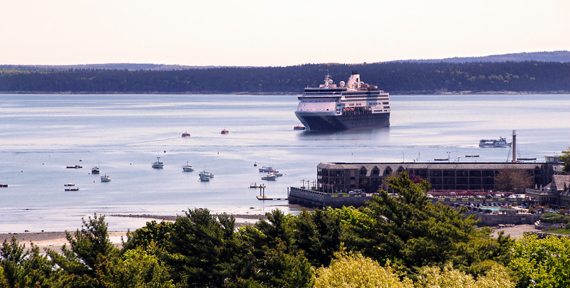 Bar Harbor Maine, Cruise Ship Entering Port