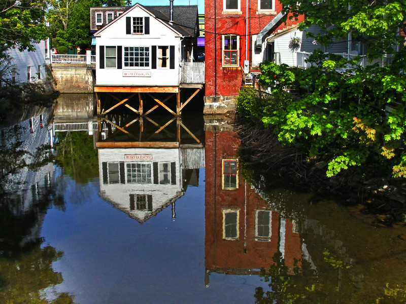 Camden Maine, Old Building Reflections on Water