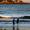 Kennebunk Maine, Couple Frolicking on Beach at Sunset