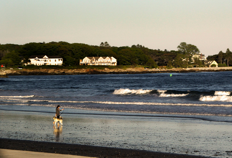 Kennebunk Maine, Girl with Dog on Beach