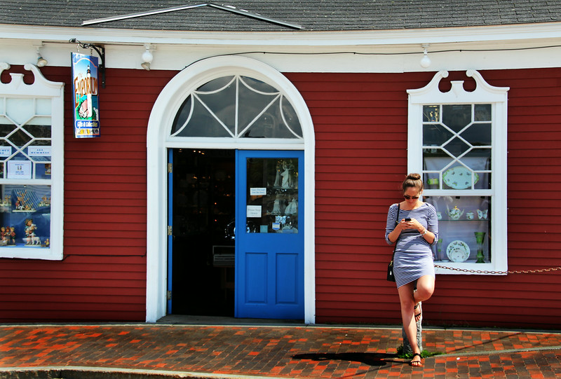 Kennbunkport Maine, Young Woman in Front of Gift Shop