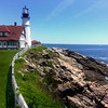 Cape Elizabeth Maine, Portland Head Light with Rock Formation