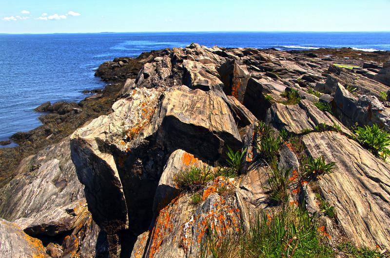 Cape Elizabeth Maine, Mica & Quartz Rocks on Shoreline