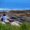 Cape Elizabeth Maine, Couple Photographing Selfies on Rocks