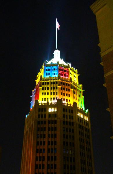 San Antonio Texas, Tower Life Building with Fiesta Lighting
