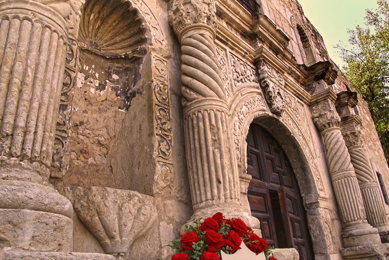 San Antonio Texas, The Alamo Portal with Roses