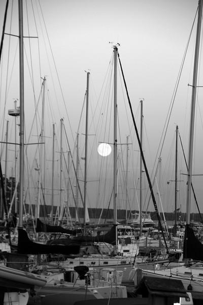 Bayfield Wisconsin, Harvest Moon over Marina