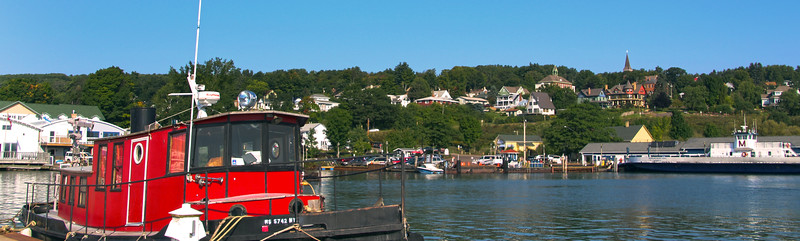 Bayfield Harbor Wisconsin, View from Marina on Town Above