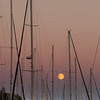 Bayfield Wisconsin, Yachts with Harvest Moon