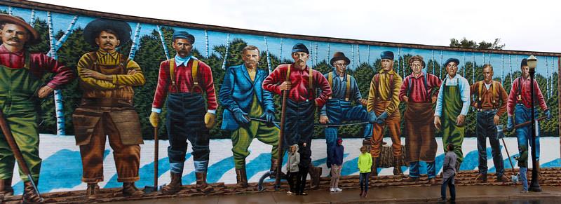 Ashland Wisconsin, Historic Mural Capital of Wisconsin, Working Man Mural, Panorama