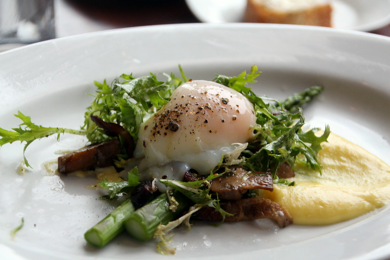 Elkhart Lake Wisconsin, Lake Street Cafe, Poached Egg Asparagus Appetizer