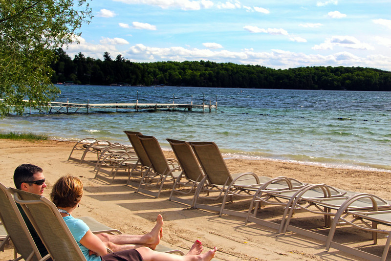 Elkhart Lake Wisconsin, Couple Relaxing on Shore