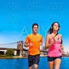 Couple running in New York Brooklyn photo mount